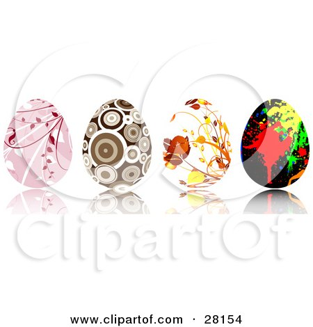 Clipart Illustration of a Set Of Four Pink, Brown, Floral And Paint Splatter Easter Eggs With Intricate Designs by KJ Pargeter