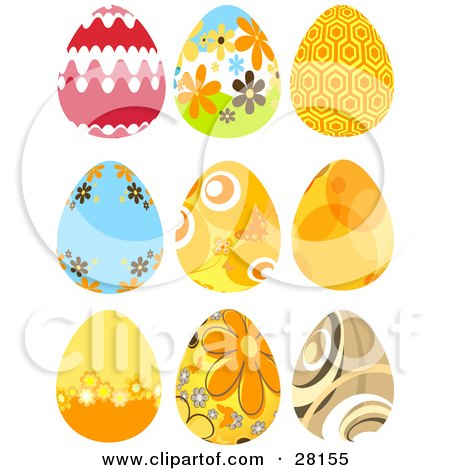 Clipart Illustration of a Set Of Nine Red, Orange, Brown, Floral And Intricate Easter Eggs by KJ Pargeter