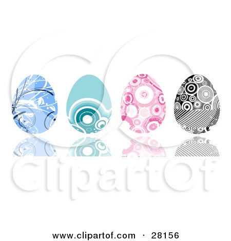 Clipart Illustration of a Set Of Four Blue, Pink And Black And White Easter Eggs With Intricate Designs by KJ Pargeter