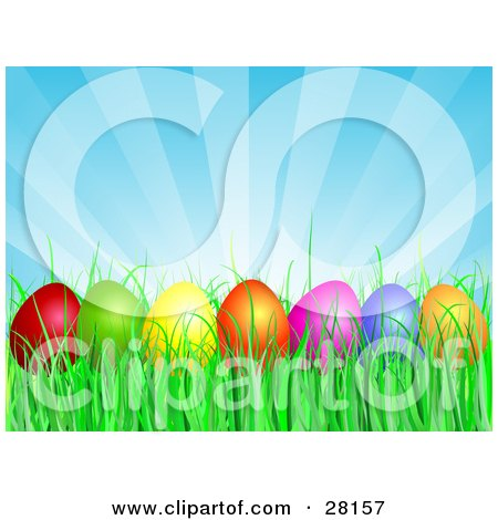 Clipart Illustration of a Row Of Red, Green, Yellow, Orange, Pink And  Blue Easter Eggs Resting In Green Grass Under A Bursting Blue Sky by KJ Pargeter