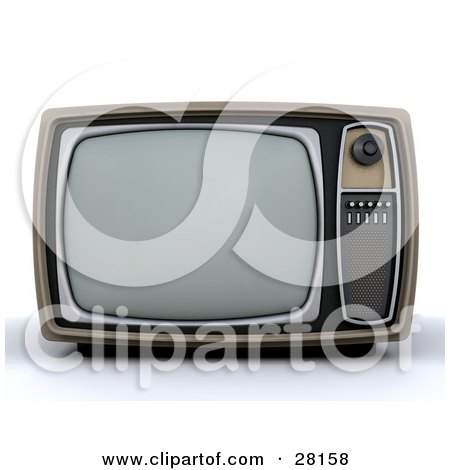 Clipart Illustration of a Vintage Box TV With A Control Panel On The Side by KJ Pargeter