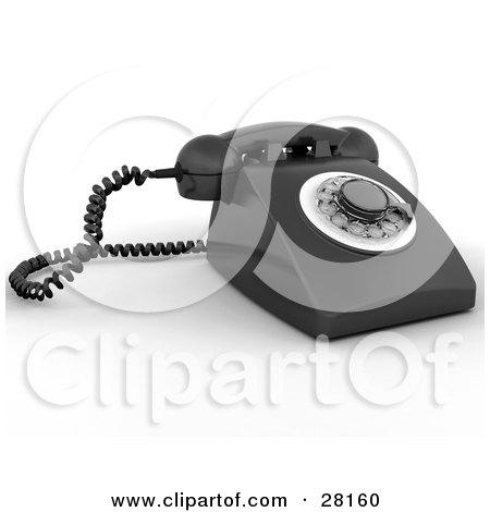 Clipart Illustration of a Black Rotary Landline Desk Phone by KJ Pargeter