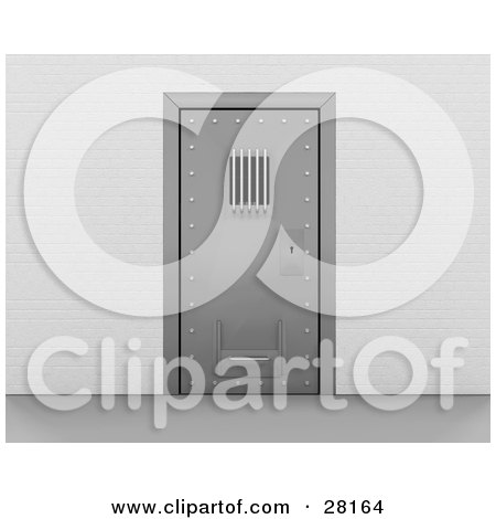 Clipart Illustration of a Secured Metal Prison Door Containing Convicts by KJ Pargeter