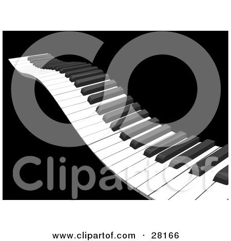 Clipart Illustration of a Waving Piano Keyboard With White And Black Keys, Over A Black Background by KJ Pargeter