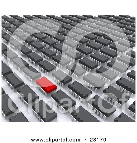 Clipart Illustration of a Red Computer Virus In A Row Of Computer Chips by KJ Pargeter