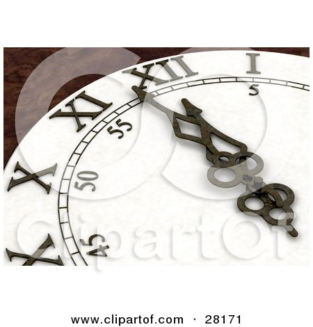 Clipart Illustration of Wall Clock Arms And Hands Pointing To A Few Minutes Before Midnight On New Years Eve by KJ Pargeter