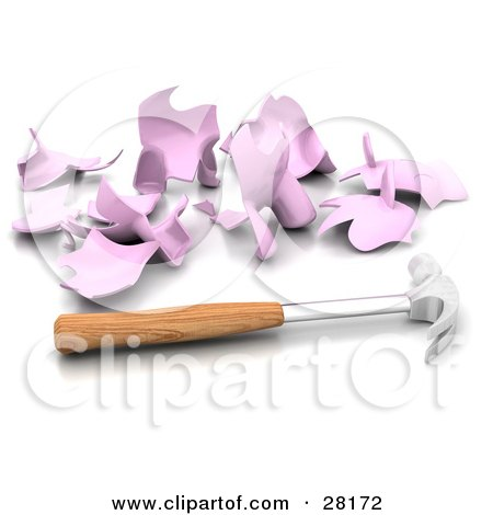 Clipart Illustration of a Hammer Resting Beside A Shattered Piggy Bank, Symbolizing Debt And Bankruptcy by KJ Pargeter