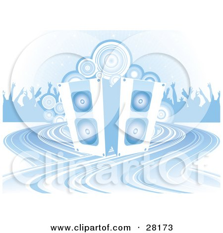 Clipart Illustration of a Crowd Of Silhouetted People And Circles Behind A Set Of Speakers by KJ Pargeter