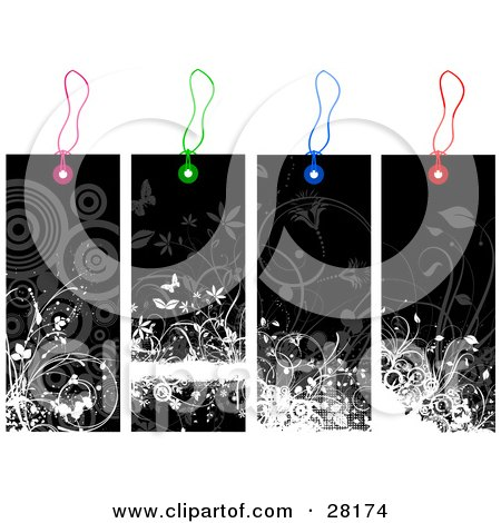 Clipart Illustration of a Group Of Four Black And White Floral Grunge Tags With Pink, Green, Blue And Red Strings by KJ Pargeter
