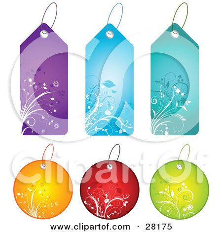 Clipart Illustration of a Group Of Six Circle And Tall Purple, Blue, Teal, Orange, Red And Green Floral Tags by KJ Pargeter