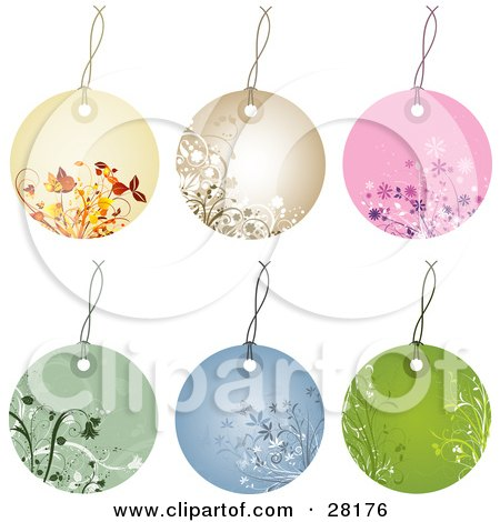 Clipart Illustration of a Group Of Six Beige, Brown, Pink, Green And Blue Circular Floral Tags by KJ Pargeter