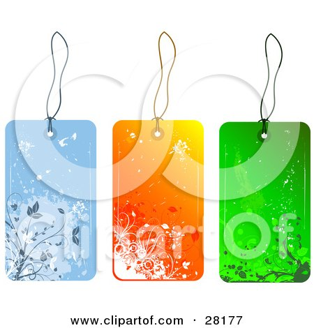 Clipart Illustration of a Group Of Three Blue, Orange And Green Floral Grunge Sales Or Gift Tags by KJ Pargeter