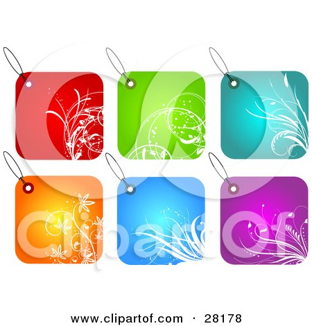 Clipart Illustration of a Group Of Six Red, Green, Blue, Orange And Purple Square Floral Tags by KJ Pargeter