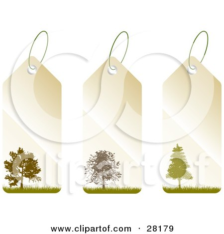 Clipart Illustration of a Group Of Three Beige And Green Tags With Trees And Grass by KJ Pargeter