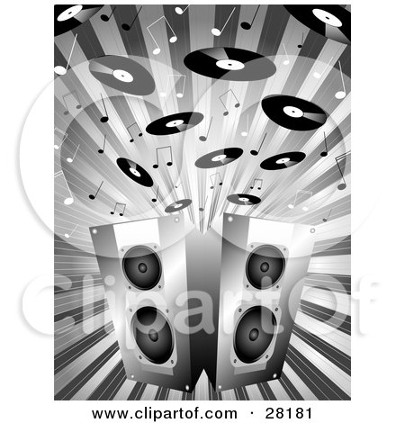 Clipart Illustration of Black And White Music Notes And Records Above Two Stereo Speakers On A Bursting Background by KJ Pargeter