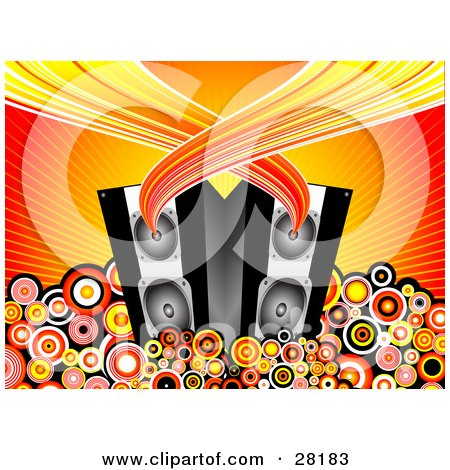 Clipart Illustration of Sound Flowing From A Pair Of Black Music Speakers Surrounded By Circles On A Bursting Background by KJ Pargeter