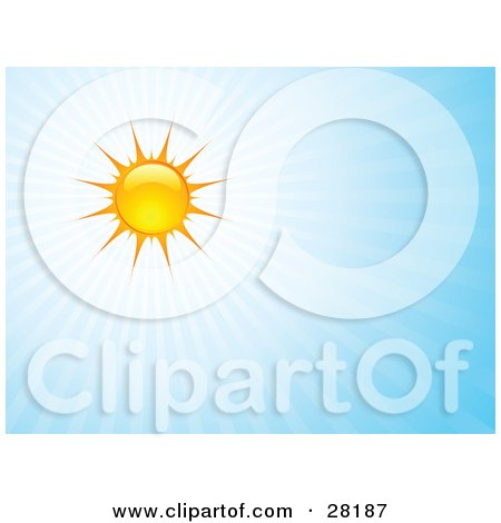 Clipart Illustration of a Bright Summer Sun Casting Rays Of Light In A Blue Sky by KJ Pargeter