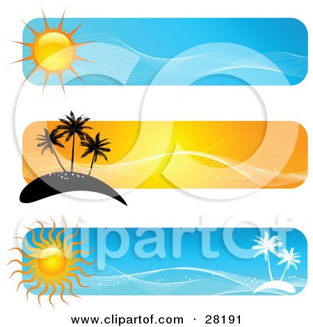 Set Of Three Blue And Orange Travel Website Banners With Suns, Palm Trees And Islands Posters, Art Prints