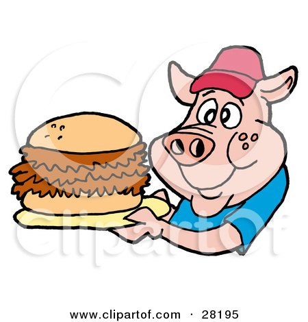 Clipart Illustration of a Male Pig In A Red Hat And Blue Shirt, Holding A Giant Pulled Pork Sandwich by LaffToon