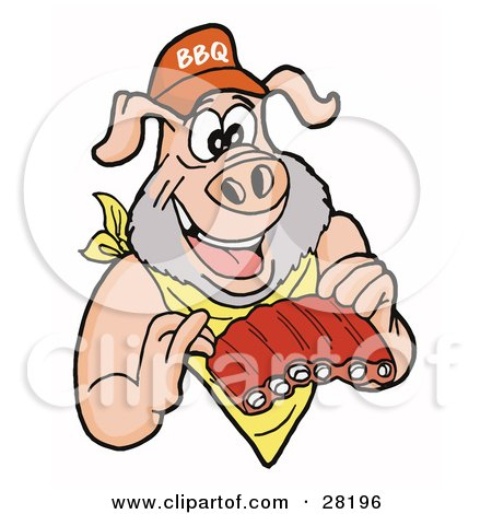 Clipart Illustration of a Pig With A Beard, Wearing A Bib And Chowing Down On Ribs by LaffToon