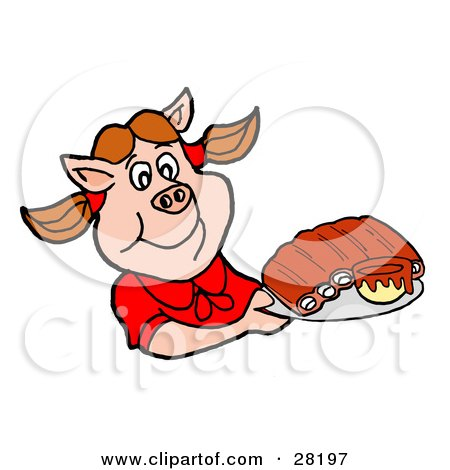 Clipart Illustration of a Pig Girl In A Red Shirt, Holding A Tray Of BBQ Ribs by LaffToon