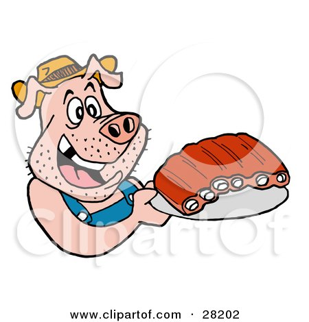 Clipart Illustration of a Hillbilly Pig In Overalls, Eating Ribs by LaffToon