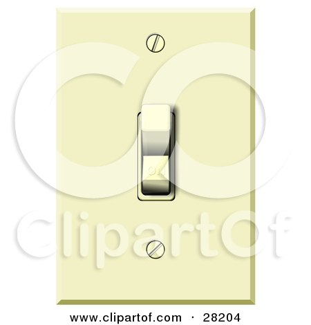 Clipart Illustration of an Electrical Flip Light Switch In The On Position by djart