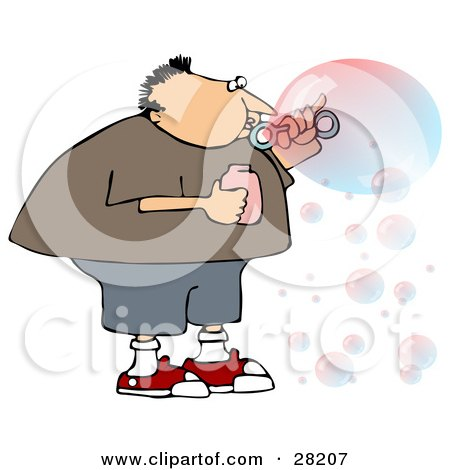 Clipart Illustration of a Chubby Caucasian Boy Or Man Blowing Transparent And Colorful Bubbles by djart