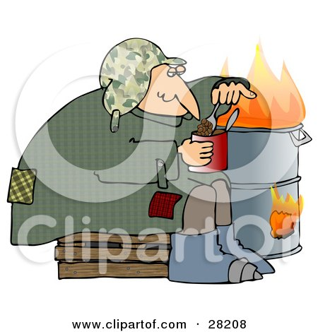 Clipart Illustration of a Homeless Caucasian Man Eating Beans Out Of The Can While Sitting Beside A Fire In A Trash Can by djart