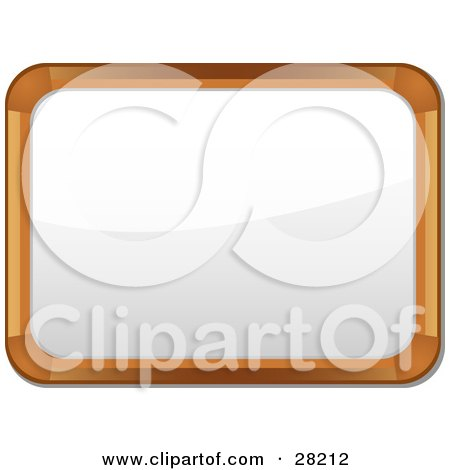 Clipart Illustration of a Wooden Frame White Board With Blank Space by elaineitalia