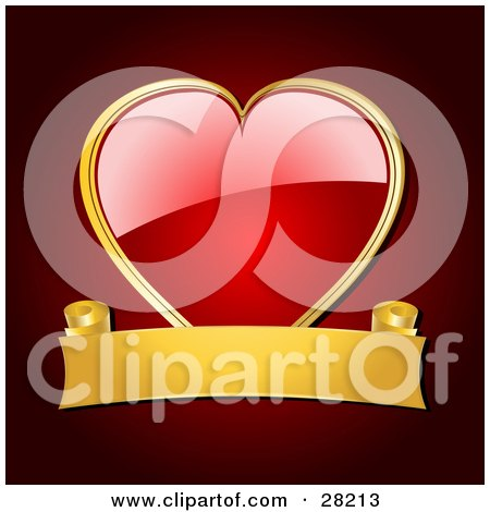 Clipart Illustration of a Shiny Red Heart Framed In Gold, With A Blank Gold Banner Over A Red Background by elaineitalia