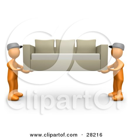 Two Orange Male Figures Lifting And Carrying Away A Tan Couch While Moving Or Delivering Posters, Art Prints