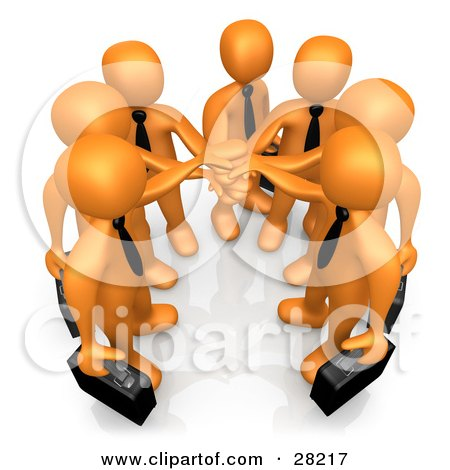 Clipart Illustration of a Group Of Seven Orange Businessmen Carrying Briefcases And Standing With Their Hands Together, Symbolizing Teamwork, Cooperation, Support, Unity And Goals by 3poD