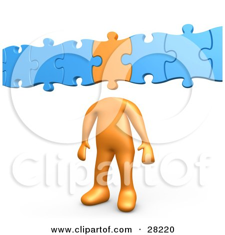 Clipart Illustration of an Orange Person With A Puzzle Piece As A Head, Connected To Blue Pieces by 3poD