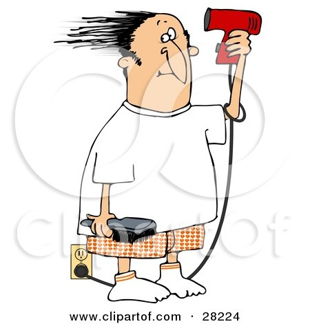 Clipart Illustration of a Man Standing By An Electrical Outlet, Holding A Brush And Blow Drying His Hair by djart