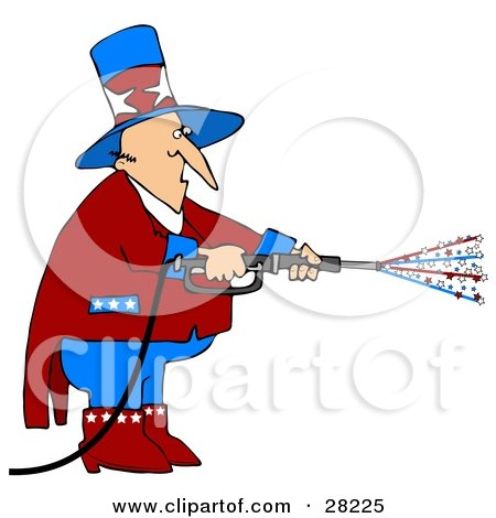 Clipart Illustration of Uncle Sam In Red, White And Blue, Using A Power Washer And Spraying Out Stars On Tax Day Or The Fourth Of July by djart