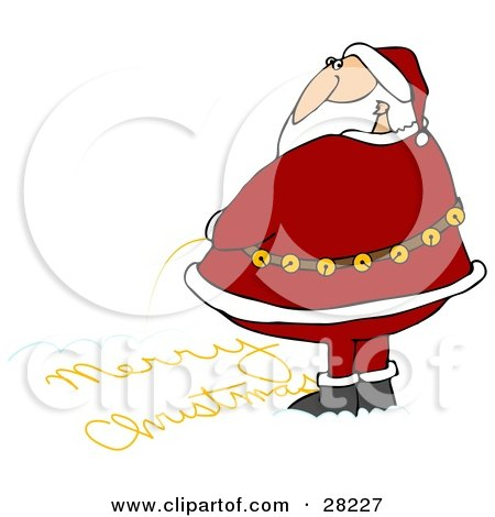 Clipart Illustration of Santa Looking Over His Shoulder While Writing Merry Christmas In The Snow With His Yellow Pee by djart