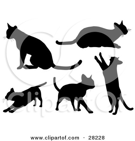 Clipart Illustration of a Set Of Silhouetted Kitty Cats Sitting, Laying, Stretching, Walking And Standing Up On Their Hind Legs by KJ Pargeter