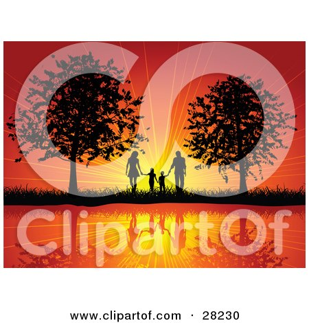 Clipart Illustration of a Silhouetted Family Of Four Holding Hands And Walking Between Two Trees, Reflecting On Still Water, Against A Bursting Orange Sunset by KJ Pargeter