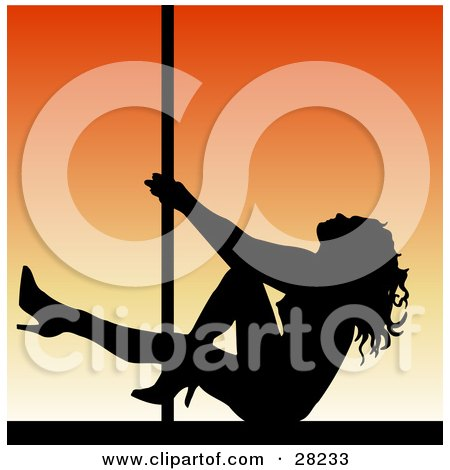 Clipart Illustration of a Black Silhouetted Pole Dancer Woman Seated On A Stage Over An Orange Background by KJ Pargeter