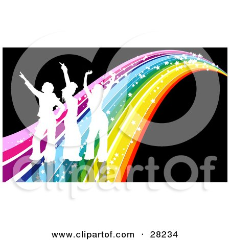 Clipart Illustration of Three White Silhouetted People Dancing On A Sparkly Rainbow Over A Black Background by KJ Pargeter