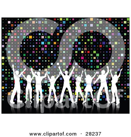 Clipart Illustration of Nine White Silhouetted Dancers With Their Arms In The Air, Over A Colorful Square Disco Background by KJ Pargeter