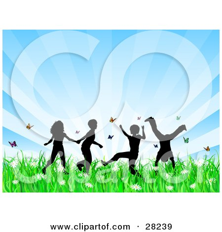 Clipart Illustration of Four Silhouetted Children Running, Holding Hands And Doing Somersaults In A Field Of Butterflies And Spring Flowers Over A Bursting Blue Background by KJ Pargeter