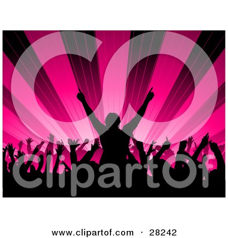 Clipart Illustration Of A Silhouetted Audience Waving Their Hands In The Air In A Concert Over A Bursting Pink Background