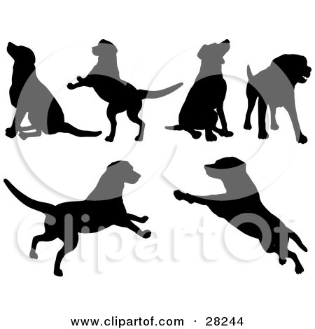 Clipart Illustration of a Set Of Silhouetted Dogs Sitting, Standing, Running And Playing by KJ Pargeter