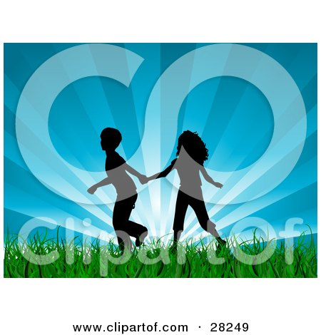 Clipart Illustration of a Silhouetted Boy And Girl Holding Hands And Running Through Green Grass With A Bursting Blue Sky Background by KJ Pargeter