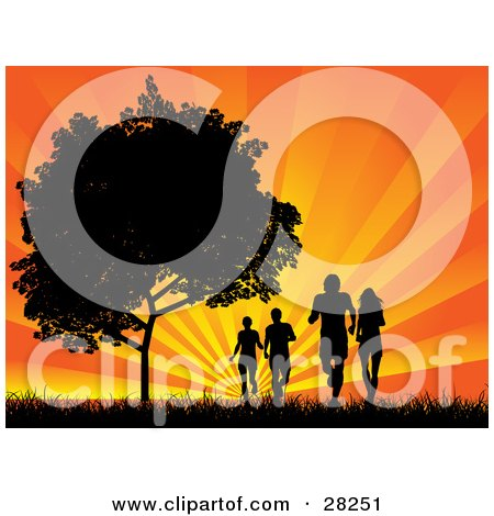 Clipart Illustration of Four Silhouetted Adults Jogging In A Field Near A Tree, Against A Bursting Orange Sunset by KJ Pargeter