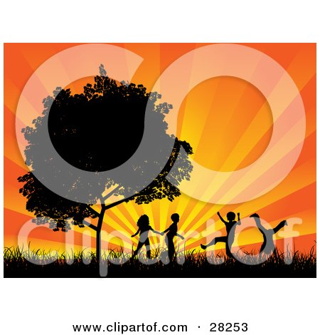 Clipart Illustration of Four Silhouetted Children Running, Holding Hands And Doing Somersaults In A Field Near A Tree, Against A Bursting Orange Sunset by KJ Pargeter