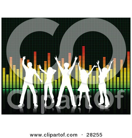 Clipart Illustration of Five Silhouetted White People Dancing On A Black Surface In Front Of An Equalizer Background by KJ Pargeter
