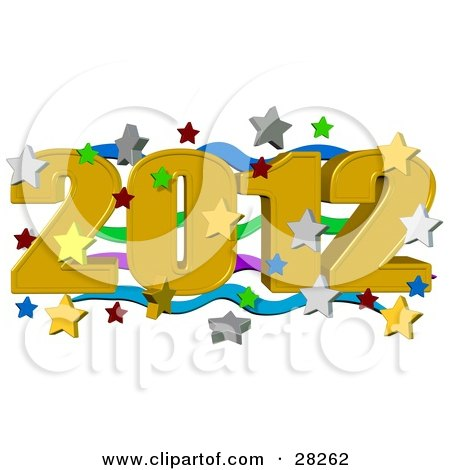 Clipart Illustration of a Golden 2012 Over Green, Purple And Blue Waves, Surrounded By Falling Stars At A New Year Party by djart